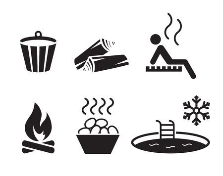 Sauna set: simple, black icons on a white background Иллюстрация