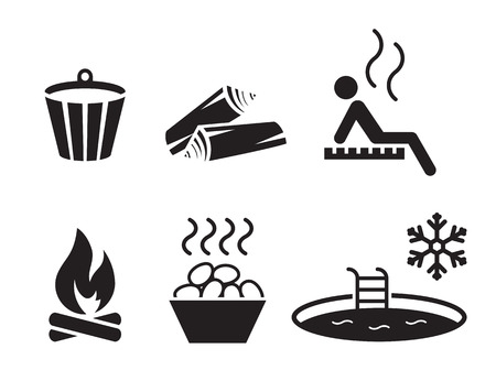 Sauna set: simple, black icons on a white background Illustration