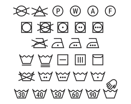 washing symbols black on white background
