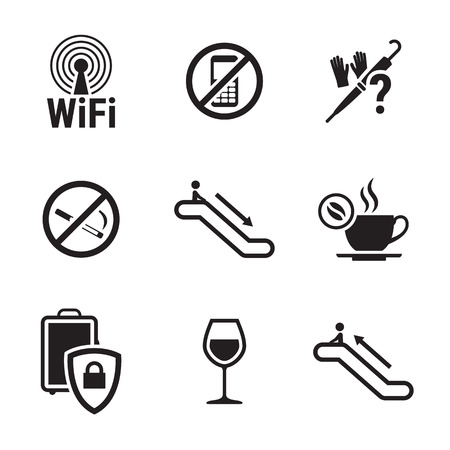 Public places Information signs: black, isolated icons on a white background
