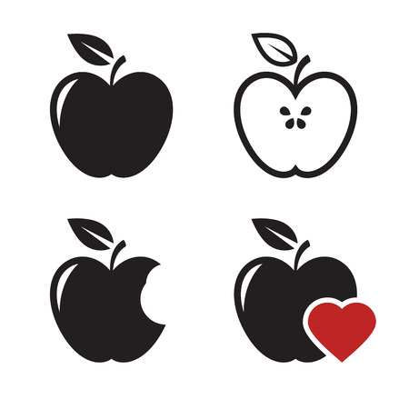 Apple icons set: black on a white background Illustration
