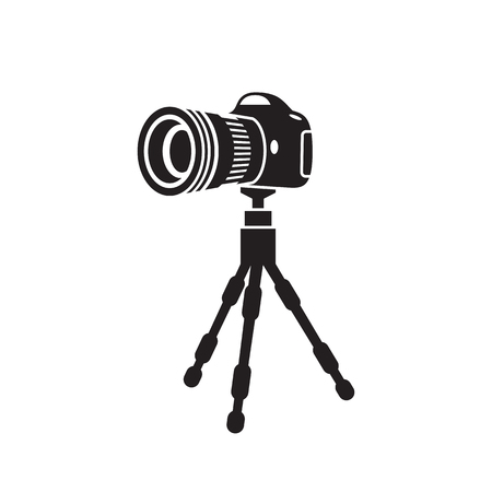 tripod with the camera, perspective icon, black