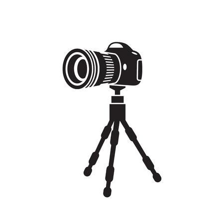treppiede con la fotocamera, icona prospettica, nero