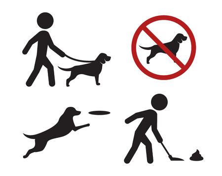 Marcher avec des icônes de signes de chien: icônes noires, isolées sur fond blanc