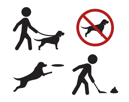 Walking with dog signs icons: black, isolated icons on a white background Illustration