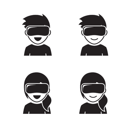 Virtual reality headset happy children icons black on a white background