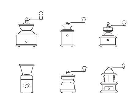 コーヒーミルのアイコン セット、白い背景の輪郭