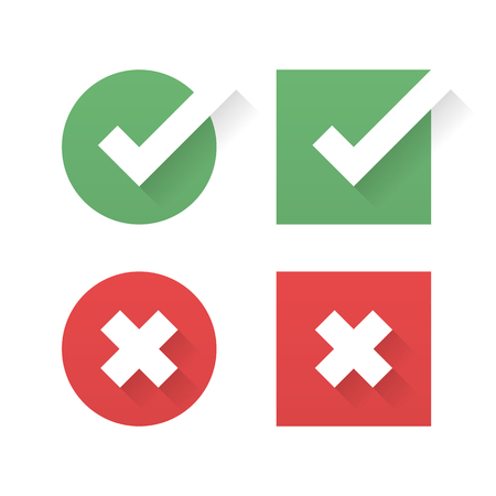 green check marks and red crosses. Circle and square. Minimalism icons set