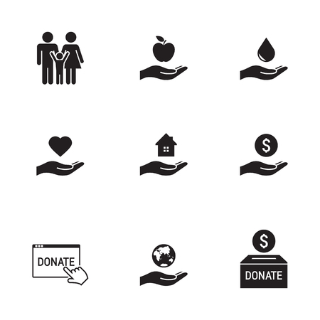 Charity, Donation icons set, black on a white background