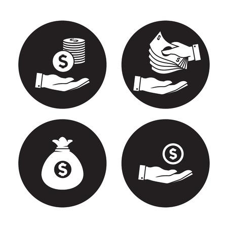 Money Icons Set. White icons on a black background Illustration