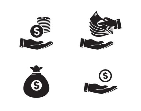 avarice: Money Icons Set. Black icons on a white background Illustration