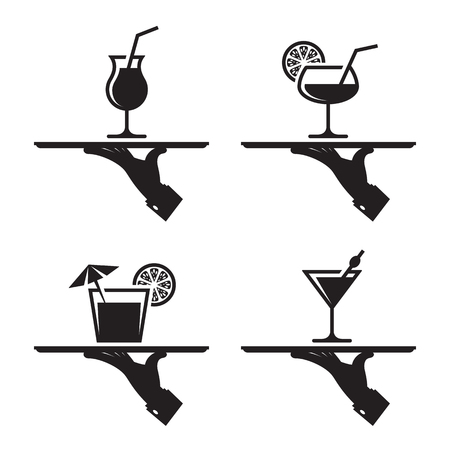 black icons of human hand with a tray on a white background. alcohol cocktail Illustration