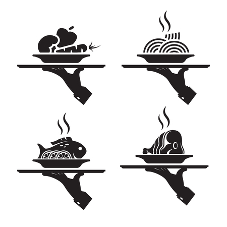 black icons of human hand with a tray on a white background. main courses