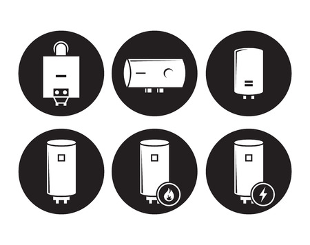 Boiler icons set, white on a black background Иллюстрация