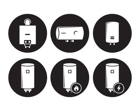 Boiler icons set, white on a black background Illustration