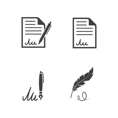 Contract Icons, Signature Icons: black on white background