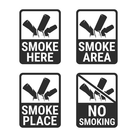 No smoking and Smoking area labels, black on a white background Stock Vector - 84773031