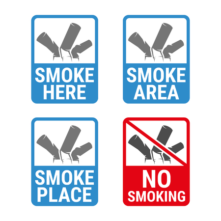 No smoking and Smoking area labels, colour silhouette on a white background Illustration