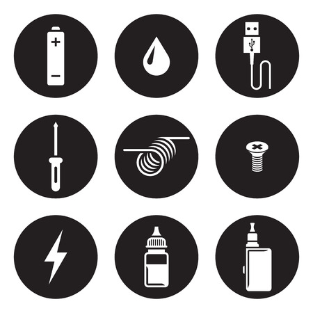 Electronic cigarette icons, white on a black background. Vape trend