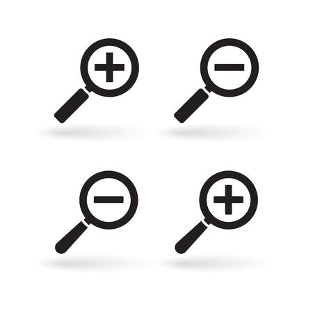 Agrandir l'icône, zoom arrière et zoom arrière des icônes Vecteurs