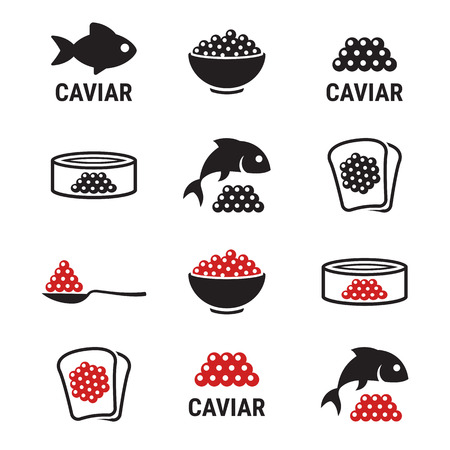 whitefish: Caviar, roe, fish eggs icons set. Black and red on a white background
