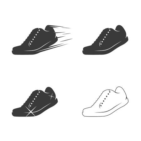 Shoe icons set. Black on a white background