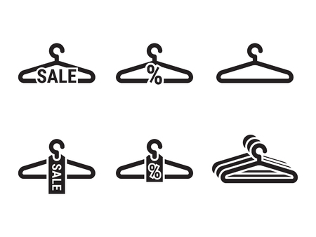 Hanger, sale icons set. Black on a white background