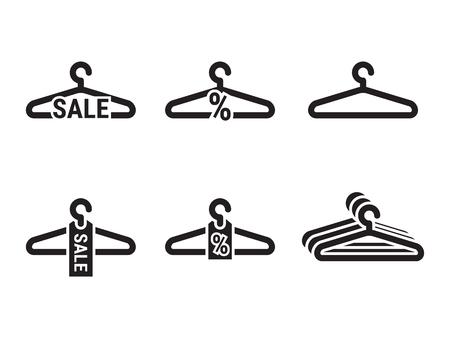 Suspensión, conjunto de iconos de venta. Negro sobre un fondo blanco Vectores