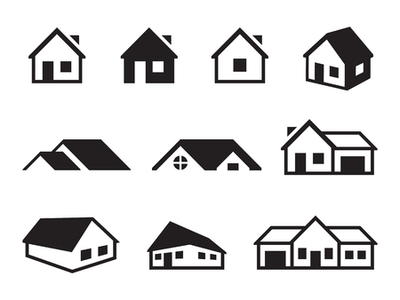 Houses icons set. Black on a white background