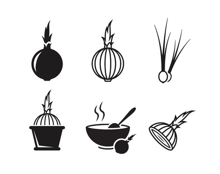 Onion icons set. Black on a white background 向量圖像
