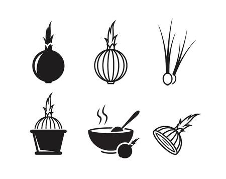 Onion icons set. Black on a white background Illustration
