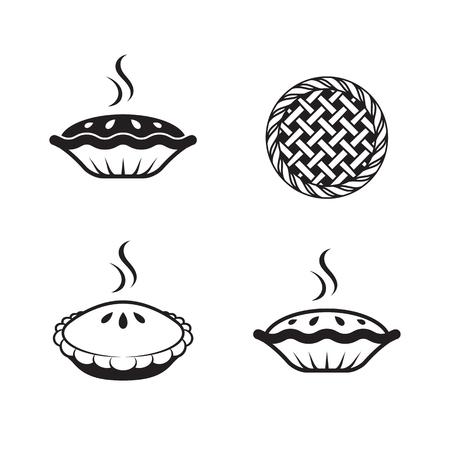 Kuchenikonen eingestellt. Schwarz auf weißem Hintergrund Standard-Bild - 84730062