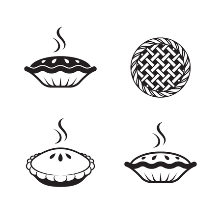 pie icons set. Black on a white background Stok Fotoğraf - 84730062