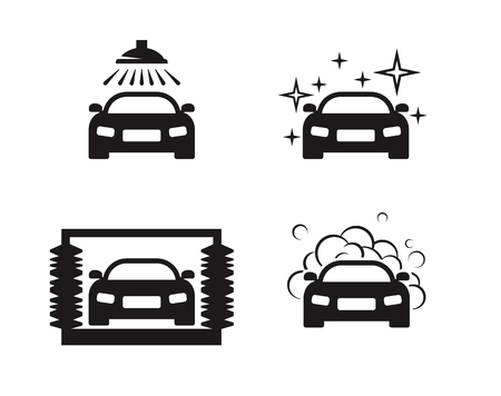 Car wash icons set. Black on a white background