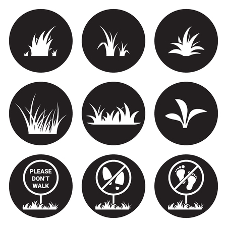Grass icon set. White on a black background Stock Vector - 84649808