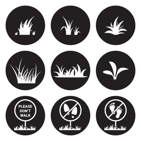 Grass icon set. White on a black background