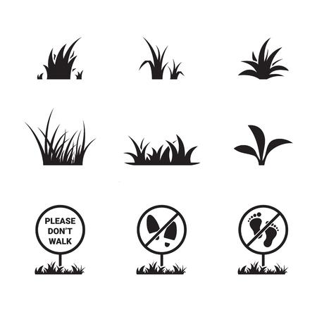 Grass icon set. Black on a white background