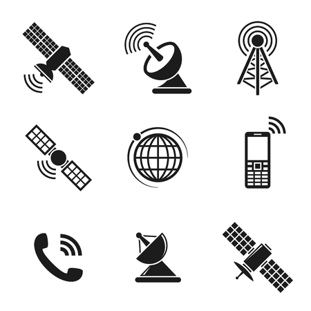 Satellite icons set. Black on a white background