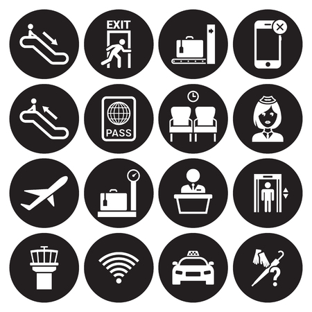 Airport icons set. White on a black background Illustration