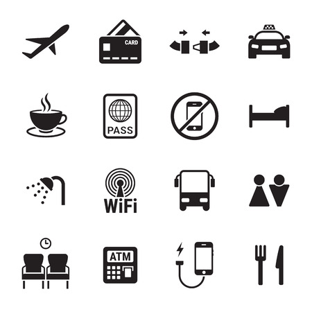 Airport icons set. Black on a white background Illustration