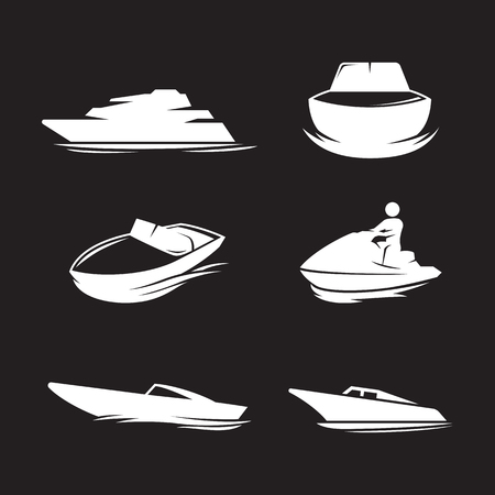 Boat icons set. White on a black background Illustration