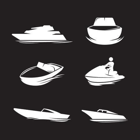 Boat icons set. White on a black background Illustration