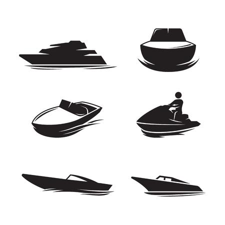 Boat icons set. Black on a white background