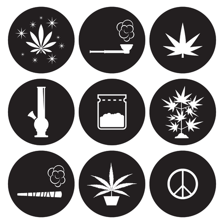 Cannabis icons set. White on a black background Stock Vector - 84733624