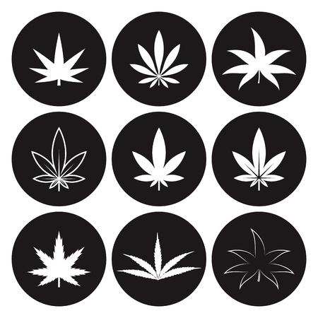 Icono de marihuana en un fondo negro Foto de archivo - 84674399
