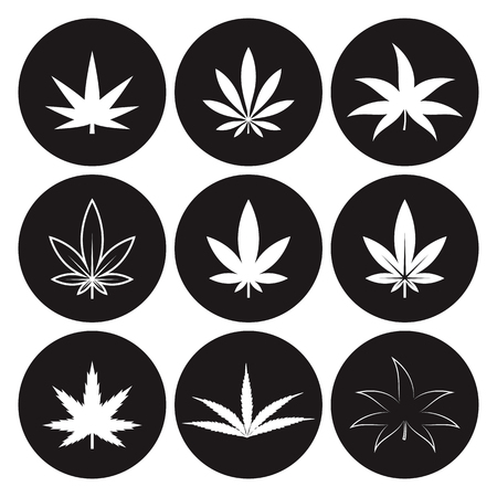 Marijuana icon set on a black background