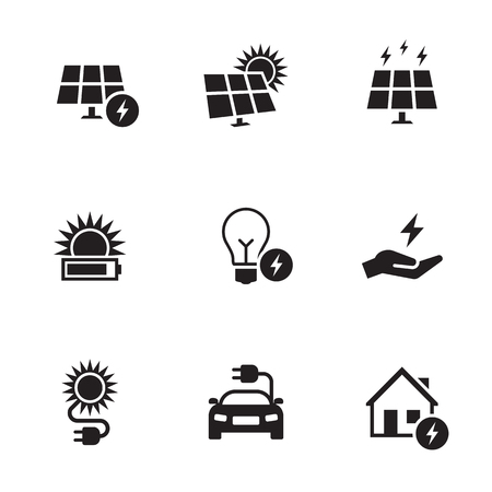 Energy, electricity icon set. Black on a white background
