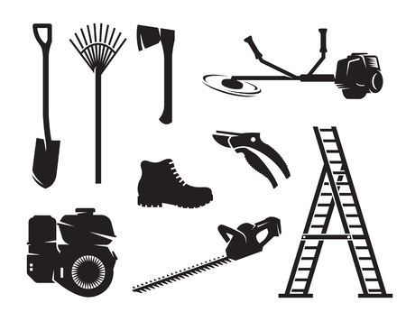 Gardening equipment icons. Black on a white background