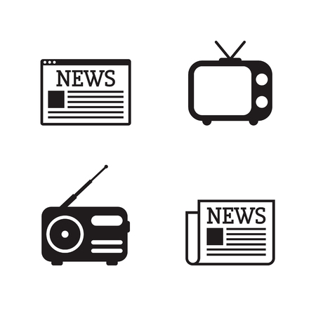 News icons set. Newspapper, tv, radio, web site. Black on a white background