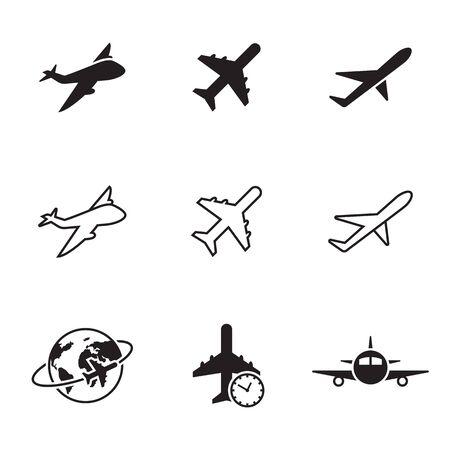 Plane icons set. Black on a white background Иллюстрация